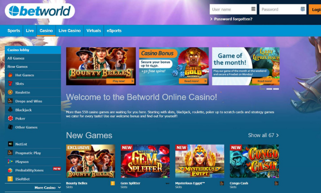 betworld casino lobby UK