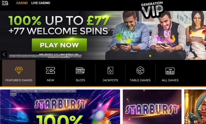 casino lobby Generation VIP