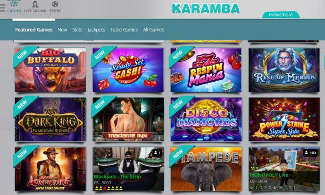 karamba casino lobby uk