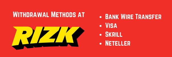 withdrawal methods at rizk uk